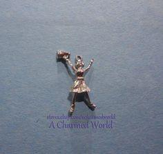 Vintage 3D Sterling Silver Female Girl Cheerleading Cheerleader Charm