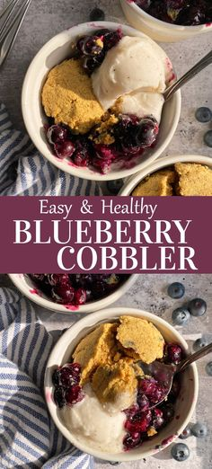 This easy homemade blueberry cobbler recipe is paleo, vegan and nut free. It consists of a delicious filling made with fresh blueberries and lemon and topped with a grain free biscuit-like topping. This healthy cobbler is perfect for an easy summer dessert. #blueberrycobbler #paleocobbler #cobblerrecipe #blueberries Easy Summer Desserts, Easy To Make Desserts, Summer Dessert Recipes, Healthy Dessert Recipes, Healthy Vegan Desserts, Paleo Vegan, Gluten Free Desserts, Eggless Recipes, Flour Recipes