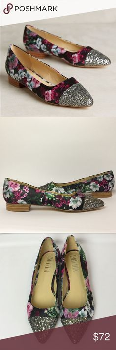 NWOT Billy Ella Shimmered flats Gorgeous floral fabric flats with glitter crusted toe. Never worn. Anthropologie Shoes Flats & Loafers