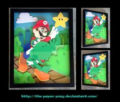 11 x 14 Mario and Yoshi Shadowbox by ThePaperPonyPlace on Etsy