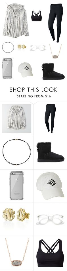 """💕"" by trujilloxochitl ❤ liked on Polyvore featuring American Eagle Outfitters, NIKE, Dogeared, UGG, OtterBox, My Name Necklace, Kendra Scott and lululemon"