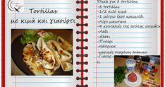 Tortillas με κιμά και γιαούρτι Tortilla Wraps, Tortillas, Cabbage, Beef, Chicken, Vegetables, Desserts, Food, Drinks