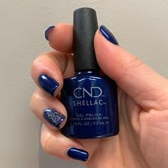 Beautiful Sassy Sapphire from CND's Crystal Alchemy Collection with blingy feature nail. Nail design by Linda U. Shellac Gel Polish, Modern Nails, Best Hair Salon, Us Nails, Spa Day, Pedicure, Nail Colors, Sassy, Salons