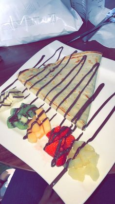 Belgian crepes with chocolate sauce