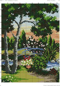 Photo Cross Stitch Art, Cross Stitch Patterns, Plastic Canvas Crafts, Crochet Stitches, Flower Art, Needlepoint, Photo Wall, Embroidery, Landscape