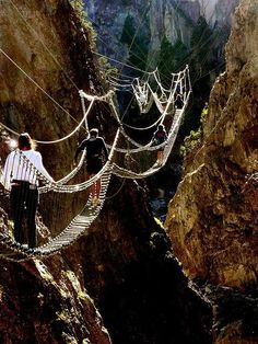 an adventurous path through the sky in Nepal..would you be brave enough to travel these bridges?