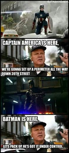 Captain America vs. Batman even that guy knows who gets the job done