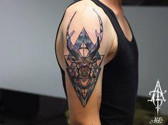 Geometric Stag Arm Tattoo