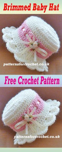Free baby crochet pattern for brimmed hat. #crochet