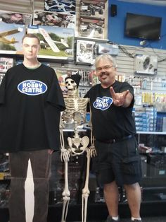 Bill, Cardboard Sheldon and James Earl Bones showing off the Hobby Centre colours at the cash counter.