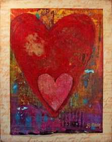 Eye Candy Art * Rachelle Hartley * Mixed Media Art and Illustrations: Artwork: In My Heart (original mixed media collage painting)