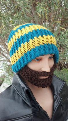 Greenish and Yellow Beard Beanie w/ Detachable by HolyNoggins, $35.00