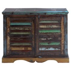 Bring rustic charm to your living room or den with this stylish mango wood chest, featuring 2 louvered doors and a distressed multicolor finish.
