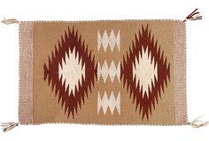 """Vintage diamond-patterned Navajo rug, circa 1950  1'6""""x1'  $349"""