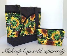 Sunflower makeup bag cosmetic bag Purse organizer Zipper
