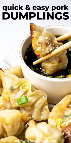 Just over 30 minutes from start to finish these pork dumplings are simple, satisfying and loaded with flavor! They're crispy yet tender making them the perfect main course or party appetizer! Wonton Recipes, Appetizer Recipes, Soup Appetizers, Supper Recipes, Bread Recipes, Asian Recipes, Healthy Recipes, Simple Pork Recipes, Simple Cooking Recipes