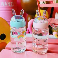 Kawaii Bunny Rabbit Ear Drinking Bottle I MIGHT even start driking water out of this! Kawaii Bunny, Kawaii Cute, Cute Bunny, Kawaii Stuff, Kawaii Things, Kawaii Girl, Cute Water Bottles, Glass Water Bottle, Drink Bottles