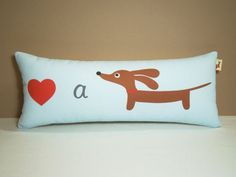 Dachshund Pillow Love a Doxie Ice Blue by persnicketypelican