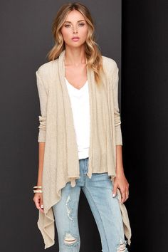 Ark & Co Knit Me Up Beige Cardigan Sweater on shopstyle.com