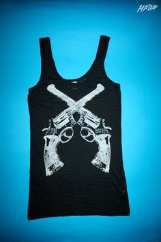 womens gun tank, womens tank top, gun tank, 1AEON women's burnout black soft tank with western colts