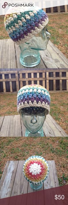 """Unisex 7 Layer Striped Rainbow Hat I dyed the Merino wool fiber with all natural dyes and blended it with hemp fiber then I spun it into yarn and crocheted this amazing hat to keep your head warm on cold winter days...everyone loves rainbows...inside circumference 22.5""""...hand wash only Accessories Hats"""