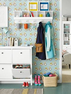 These space-saving wonders from IKEA are perfect for narrow hallways and families with a lot of footwear; wall-hung cubbies hold odds and ends and outerwear.