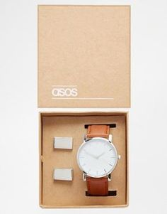 ASOS Watch and Cufflink Gift Set - Silver #accessories #men #covetme #asos