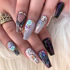 The Best Nail Art Designs & Ideas In This Compilation Fabulous Nails, Perfect Nails, Gorgeous Nails, Pretty Nails, Cute Nail Designs, Acrylic Nail Designs, Acrylic Nails, Hot Nails, Hair And Nails