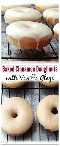 Baked Cinnamon Doughnuts with Vanilla Glaze