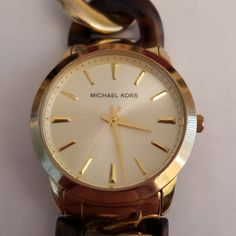 Michael Kors Gold Color & Tortoise Chain Watch MK-4279 by JCMNATURALREMEDIES on Etsy Father's Day Specials, Beauty First, Mothers Day Special, Colorful Socks, Watch Model, Michael Kors Gold, Antique Items, Hand Blown Glass, Tortoise
