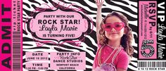 Here's the most adorable VIP ticket to your child's ROCK STAR birthday party! This invite is totally customizable...right down to the colors!
