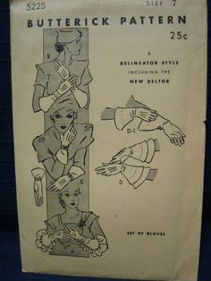 1930s Glove Gloves Vintage Sewing Pattern Butterick by kinseysue, $75.00