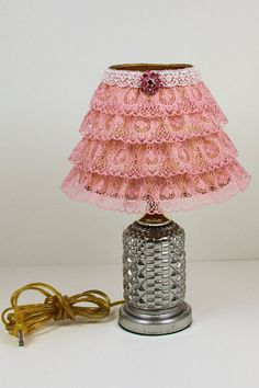Pink Lace Lamp, Rustic Home Lamp, Upcycled Lamp, Embellished Shade, Accent Shade, Accent Lamp, Cottage Chic Lamp, Upcycled Table Lamp