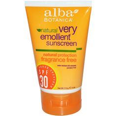 Alba Botanica, Natural Very Emollient Sunscreen, Fragrance Free, SPF 30, 4 oz (113 g) - iHerb.com