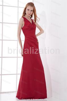 Red Floor-Length Taffeta A-Line V-neck Inverted Triangle Mother of the Bride Dress