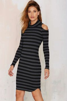Earn Your Stripes Turtleneck Dress - Day