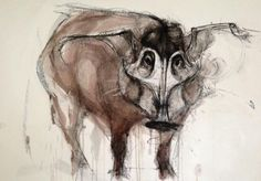 Red River Hog by Liane Stevenson, Charcoal and wash on stretched paper Red River Hog, Animal Kingdom, Lovers Art, Moose Art, Animation, Artwork, Animals, Drawings, Work Of Art