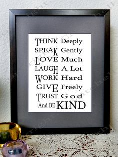 Think Deeply Speak Gently Inspirational Quote by WalkingInFaith777, $4.00