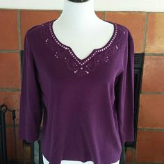 "Purple sequined tee French Laundry makes stylish plus sized clothing, and this pretty piece is in EUC. All sequins tightly in place. 22"" across armhole to armhole, 22.5"" long. 75% rayon 25%nylon. French Laundry Tops Tees - Long Sleeve"