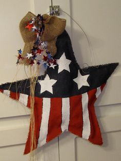 Burlap USA Flag Red, White and Blue Burlap Door Hangers American Flag Star. 28.00, via Etsy.