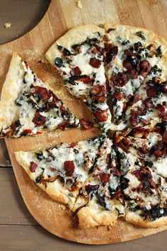 Bacon, Spinach and Sundried Tomato Pizza.