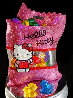 Yummy Gummy Kitty by Jonathan Stein 50 individually hand cast 2 inch resin gummy kitties placed in a hand-cast and hand painted resin bag. Over Swarovski crystals embellish this sculpture. Sanrio, Glitter Photography, Happy 40th Birthday, Hello Kitty Birthday, Hello Kitty Collection, Glitter Art, Hello Kitty Wallpaper, Unique Purses, Everything Pink