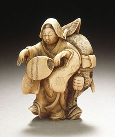 Minkoku II or Minkoku III (Japan)   Sparrow Dance, late 19th century  Netsuke, Ivory with light staining, sumi