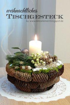 Dekoelement: Blogreihe 9 - Weihnachtliches Tischgesteck (Bastelparty)