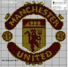 Hama Beads Design, Hama Beads Patterns, Beading Patterns, Knitting Patterns, Logo Club, 1 Gif, Canvas Patterns, Manchester United, Monogram