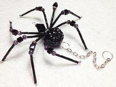 Liliah  black and glass beaded spider goth gothic by llanywynns, $16.00