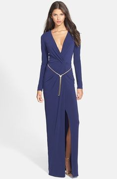 Halston Heritage Twist Front Belted Jersey Gown