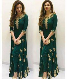 Green fancy embroidery work georgette desinger semi stitched salwar kameez anarkali gown
