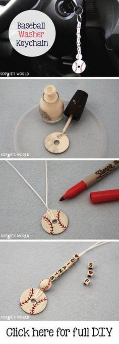 Baseball Washer keychain- can also be made into a basketball, soccer ball, etc. using different color nail polish Washer keychain- can also be made into a basketball, soccer ball, etc. using different color nail polish. Vbs Crafts, Crafts For Kids, Kids Sports Crafts, Softball Crafts, Softball Nails, Baseball Nails, Baseball Jewelry, Baseball Necklace, Soccer Ball Crafts