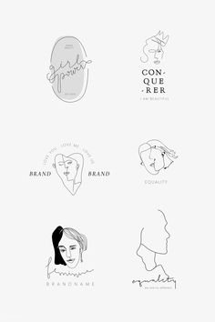 premium vector of Feminine girl power branding vector collection - Feminine girl power branding vector collection Icon Girl, Vector Character, Moon Logo, Photography Logo Design, Affinity Designer, Floral Logo, Wedding Logos, Minimal Logo, Beauty Logo